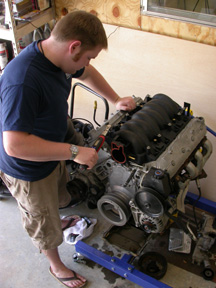 Dustin working on LS1 Engine